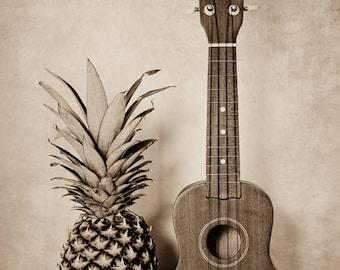 Pineapple Wall Art, Ukulele Photo, Still Life Art, Hospitality, Music Print, Hawaiian Art, Quirky Art, Musician Art, Art Print, Beach Decor