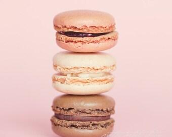 Fine Art Photo, Macaron Cookies, Strawberry, Vanilla, Chocolate, Food Art, Bakery Art, Pastel, Pink, Dessert, Cafe Art, Sweets, Square Print