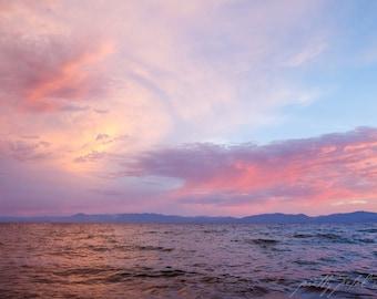 Fine Art Print, Lake Tahoe Art, Tahoe Photo, Lake Art, Pink Sunset, August, Summer Art, Vacation Art, Resort Art, Sunset Print, Lake Decor