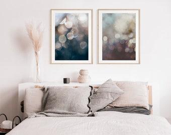 Abstract Print Set, Set of 2 Prints, Blue Wall Art, Circle Prints, Abstract Art, Bedroom Art, Spa Art, Coastal Art