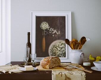 Fine Art Print, Ice Cream Art, Kitchen Art, Babys Breath Art, Flower Art, Botanical Print, Whimsical Decor, Ice Cream Scoop, Still Life Art