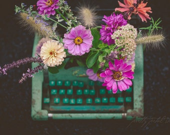 SALE, Fine Art Print, Typewriter Art, Typewriter Photo, Flower Photo, Floral Decor, Blue-green, Teal, Nature Print, Whimsical Art, Wall Art