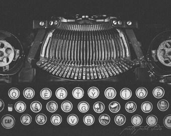 Fine Art Print, Black and White Photo, Typewriter Art, Typewriter Keys, Retro Art, Gift for Writer, Modern Art, College, School, Library Art