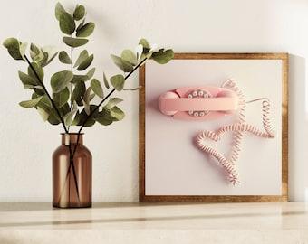Retro Art Print, Pink Phone Art, Telephone Print, Heart Art, Pastel Art, Pop Art, Square Print, Modern Art, Wall Decor, Whimsical Art