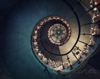 Fine Art Photography, Castle Staircase, Abstract Art, Fairytale Art, Spiral Design, Dreamy, Blue, Staircase Photo, Castle Photo, Wall Art