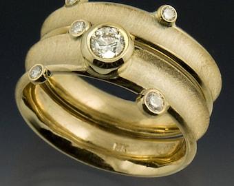 Wedding Ring Set, in 14K Gold w/ 1/2 Carat Center Diamond.