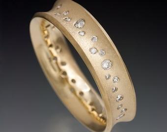 "Diamond Wedding Bands, 14K Solid Gold Diamond band ""Galaxy"""