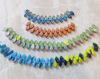 Czech pressed Glass leaf beads—four mix and match strands