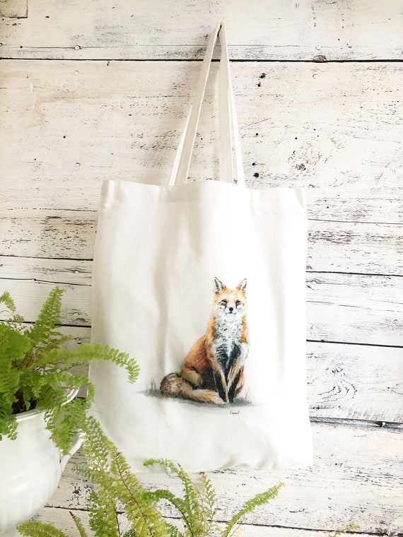 Art canvas bag Cotton Tote Bag Sly Red Fox Hand Painted