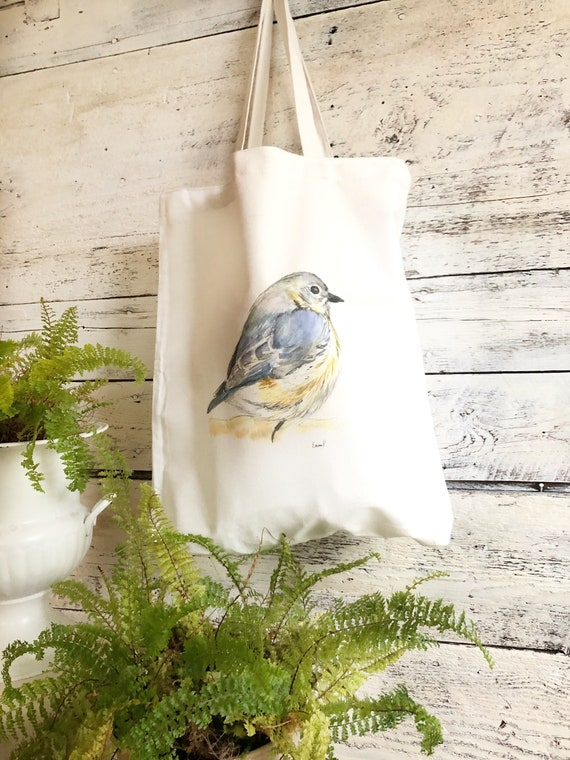 Reusable Cloth Tote Bag with Art by Emma Pyle brightly colored hummingbird