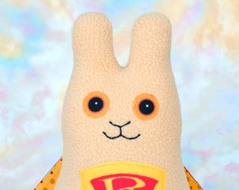 Superhero Bunny Rabbit Stuffed Animal, Lt Camel, Red, Yellow Fleece, Plush Kids Baby Toddler Toy, Wonder Bunny, Personalized Tag, 9 inch