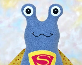 Handmade Super Slug Stuffed Animal, Blue Gray, Yellow, Red Fleece, Plush Kids Baby Toddler Art Toy, Hug Me Slug, Personalized Tag, 9 inch