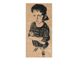 Football Player Sketch Rubber Stamp Mounted Wood Block Art Stamp