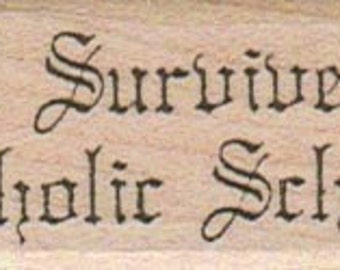 wood mounted Rubber stamp  I survived Catholic school  scrapbooking supplies number 365