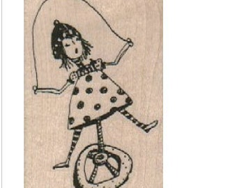 circus stamp man on unicycle jester woman rubber stamp Steampunk  Stamp whimsical  Rubber Stamp by Mary Vogel Lozinak  18746