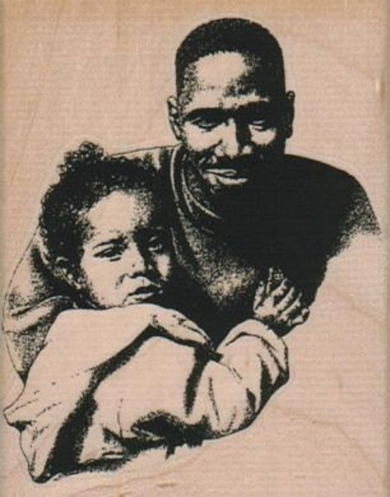 rubber stamp African American woman  And Child baby lady girl mother  number 16249