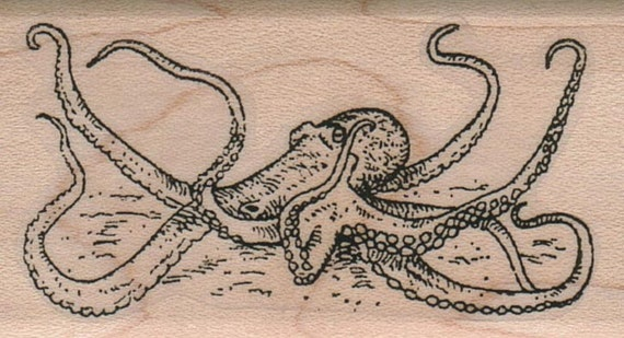 Octopus Squid Rubber Stamps Stamp Wood