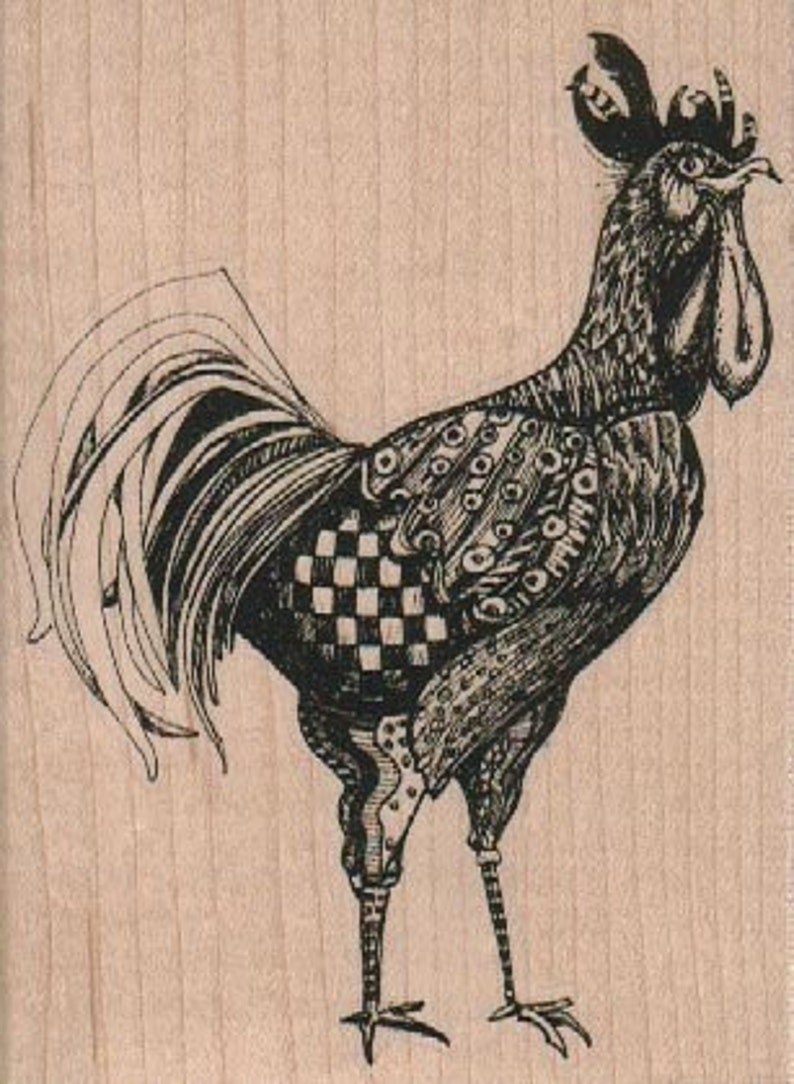 Rubber  stamp large rooster   wood mounted cling stamp steampunk zentangle  no 18891 unmounted