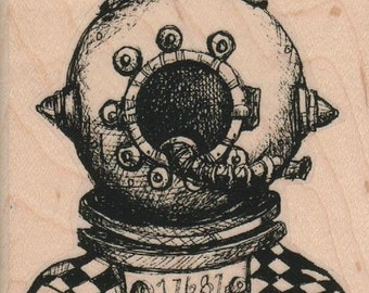 deep sea diver  rubber stamp dressed in clothes  whimsical  Rubber Stamp by Mary Vogel Lozinak  tateam EUC team  19354