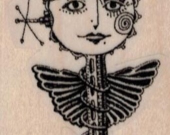 rubber stamp Whimsical skeleton key girl Crown  Mary Vogel Lozinak  tateam EUC team  19527