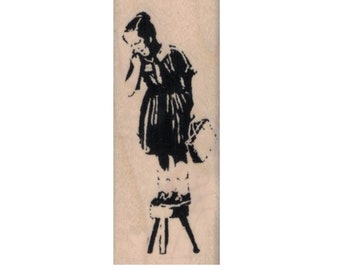 Rubber stamp Scared Girl on Stool 1 1/4 x 3 inches Anarchist   stamping graffiti outsider art play  craft 20658
