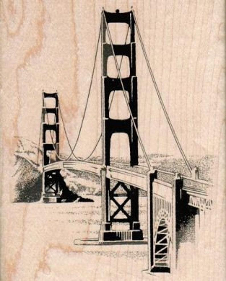 Rubber stamp Golden Gate Bridge wood Mounted  scrapbooking image 0