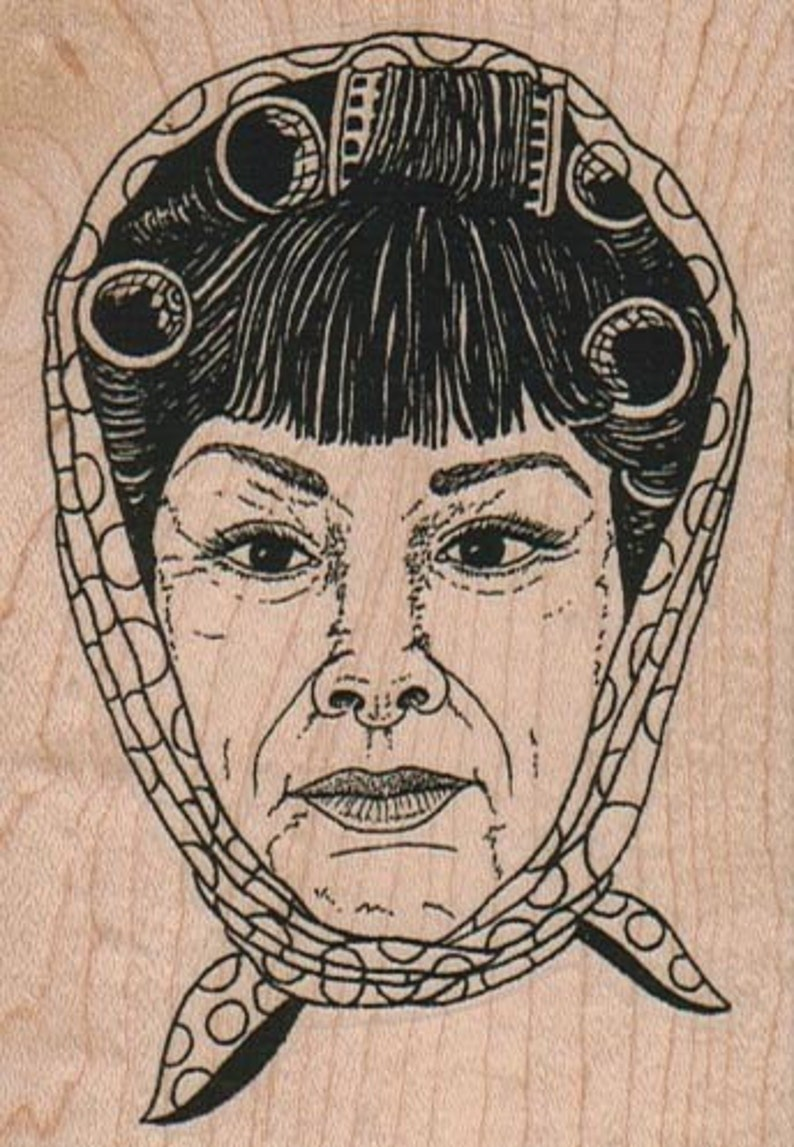 Lady with hair curlers    wood mounted rubber stamp 15226 housewife