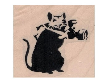 Rubber stamp Banksy  Rat Photographer 1 3/4 x 1 1/2   Anarchist   stamping graffiti outsider art play  craft supplies number  20656