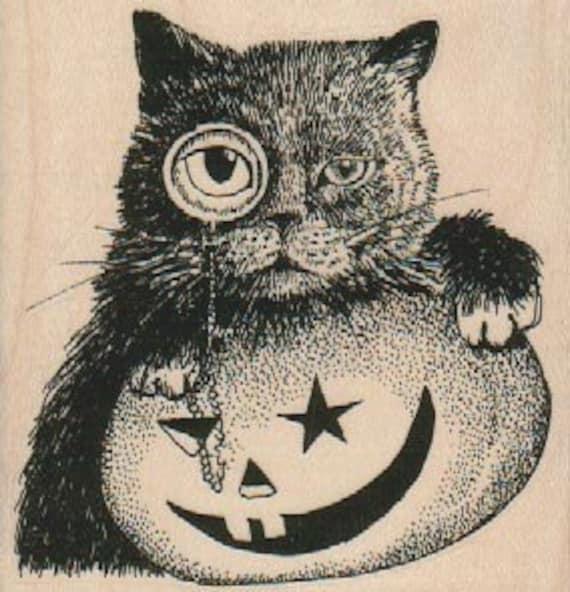 Rubber Stamp Halloween Cat And Pumpkin Jack O Lantern Etsy