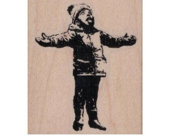 Rubber stamp Banksy Boy Catching Snowflakes  Anarchist   stamping graffiti outsider art play  craft 20662