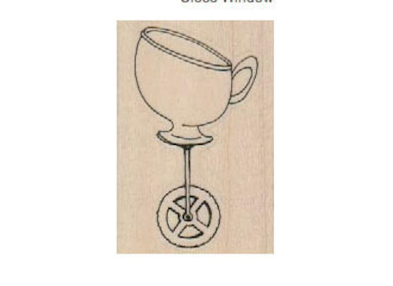 Rubber Stamp Tea cup with wheels tea party Alice in Wonderland Steampunk  designed by Mary Vogel Lozinak no 18554