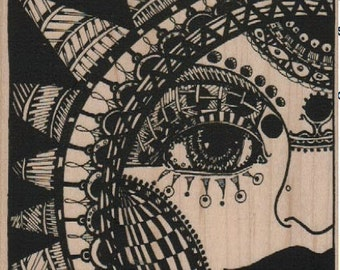 Large rubber  stamp Steampunk supplies woman sun faceand  whimsical  Rubber Stamp by Mary Vogel Lozinak  tateam EUC team  18366