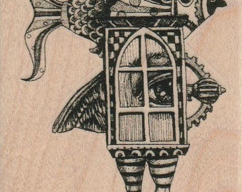 steampunk collage   rubber stamp  whimsical  Rubber Stamp by Mary Vogel Lozinak  tateam EUC team  19357
