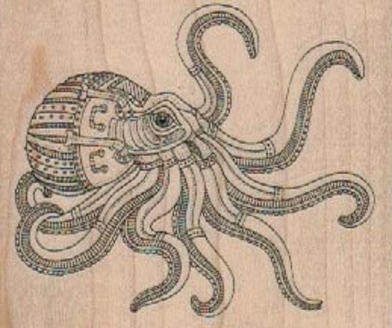 Rubber Stamp Steampunk Octopus Zentangle Squid Beach Fish