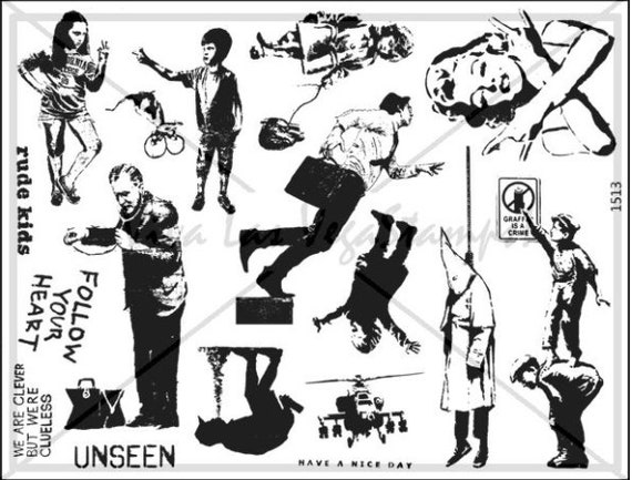 rubber stamps unmounted plate  Banksy Rubber Stamp     no 1482
