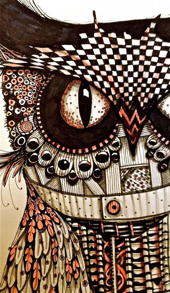 Owl Drawing Illustration Art print Zentangle bird black and white mary vogel lozinak