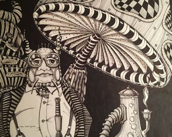 Alice in Wonderland  Caterpillar mushroom hooka Illustration Art  print   Zentangle   black and white mary vogel lozinak Adult coloring page