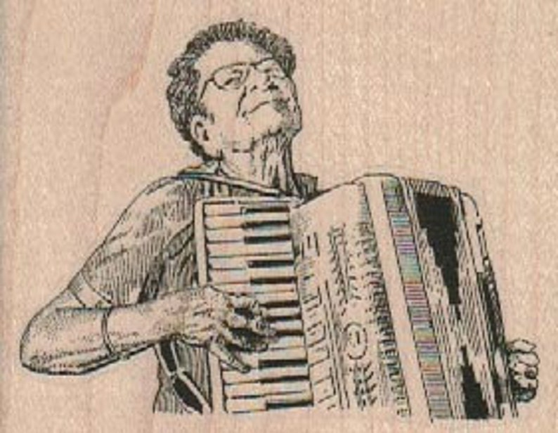 Rubber stamp old woman Lady Playing Accordion cling unmounted image 0