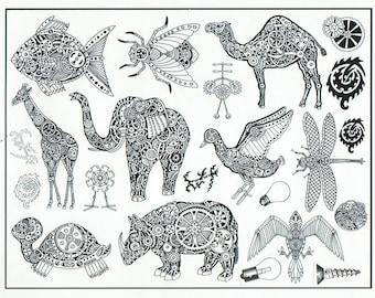unmounted plate steampunk wild animals elephant camel giraffe bird turtle rhino   Rubber Stamp  tateam EUC team   no.1272