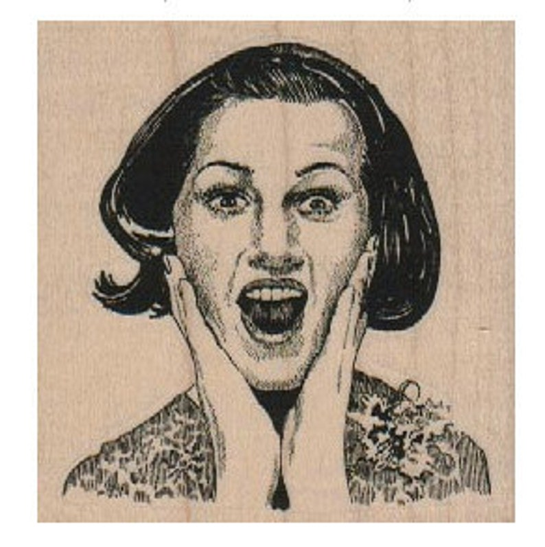 Woman facial features face   stamp   wood Mounted   rubber stamp    stamp number 5908