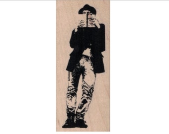 Rubber stamp Banksy man reading   Anarchist   stamping graffiti outsider art play  craft 20657