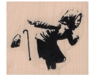 Rubber stamp Banksy Hooded Boy Running Away and Ditching Cane 1 3/4 x 1 1/2  Anarchist   stamping graffiti outsider art play  craft 20661