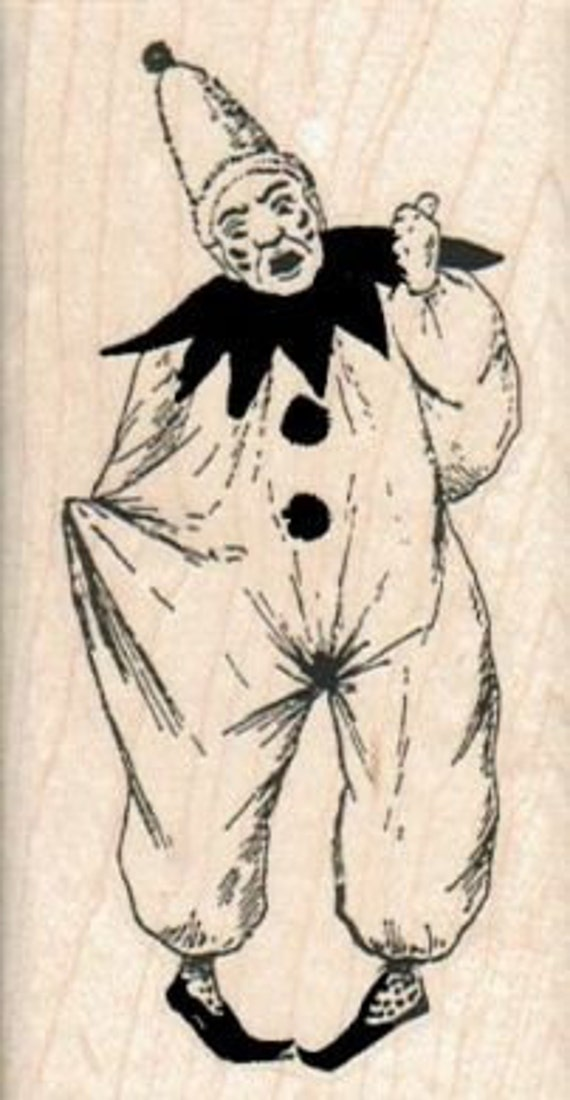 Jester Clown face circus    stamp  wood Mounted   rubber stamp    stamp number 2019