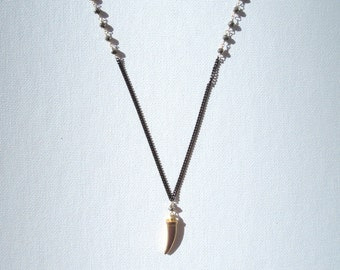 Pyrite & Gold Spike Necklace
