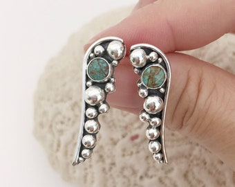 Turquoise Stud Earrings, Solid Sterling Silver Balls, Bezel Set Dangles, Green Stones, Artisan Hand Fabricated Long Drops, Post Earrings
