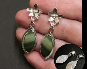 Imperial Jasper Earrings, Sterling Silver Green Stone Dangles, Hand Sawn Flowers, Hand Fabricated Silversmith Earrings, Nature Lover Gift