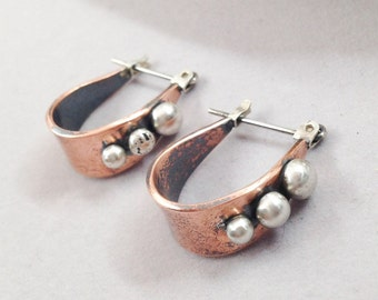Mixed Metal Hoop Earrings, Copper and Sterling Silver Artisan Handcrafted Metalsmith, Small Earrings, Everyday Rustic Boho Chic Bohemian