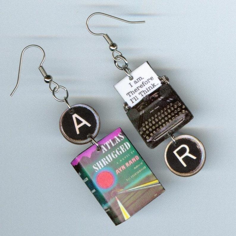 Book Earrings Atlas Shrugged - Typewriter key jewelry - Ayn Rand -  teacher's librarian reader's bookworm literary gift