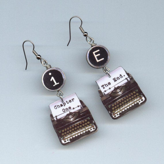 Author Writer Typewriter earrings keys Chapter one The End authors gift writers gift
