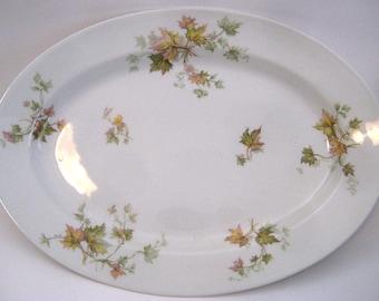 """Haviland Limoges Autumn Leaf 11"""" Serving Platter, china platter, maple leaf, France"""